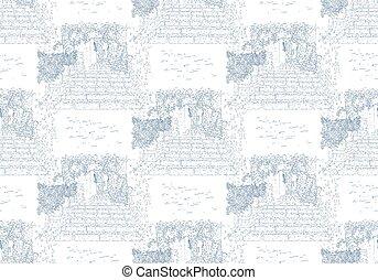 saint-paul-de-vence., sketching., idegenforgalom, művészet, pattern., concept., card., franciaország, illustration., silhouette., egyenes, város, vektor, seamless, utazás