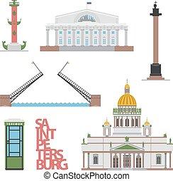 saint-petersburg, publications., vektor, vagy, cityscape., tervezés, website, lakás, -e, ábra