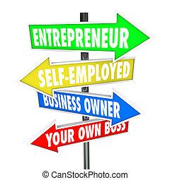 saját ügy, maga, főnök, vállalkozó, cégtábla, tulajdonos, munkavállaló, -e