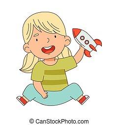 saját, birtoklás, játékszer, élvez, móka, szőke, játék, neki, vektor, csinos, leány, gyermekkor, ábra, rakéta