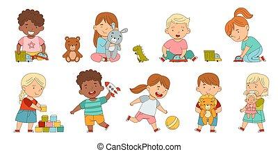 saját, különböző, birtoklás, gyerekek, élvez, móka, -eik, játék, állhatatos, vektor, csinos, gyermekkor, apró