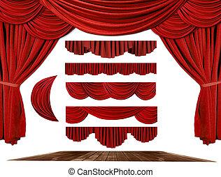 saját, színház, alkot, szövettel bevon, háttér, -e, alapismeretek, fokozat