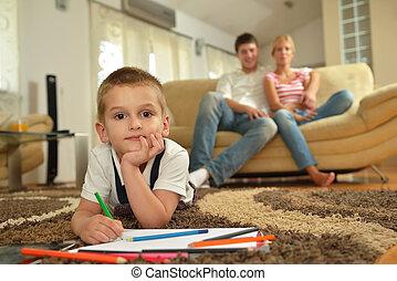 saját tanít, rajz, család, bizottság