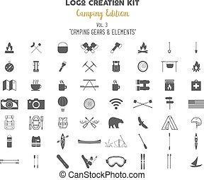 saját, természetjárás, alkotás, jelkép, kiadás, külső, folt, jel, -e, elements., kempingezés, szüret, alkot, vadon, stamps., retro, felszerelés, címke, kaland, jelvény, bekapcsol, tábor, bundle., vektor, set., utazás