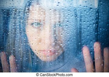 sajnálatos woman, ablak, eső, melankólia, fiatal