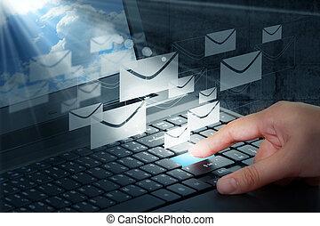 sajtó, elektronikus posta, gombol, kéz