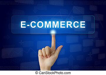 sajtó, gombol, kéz, e-commerce, kevés ellenző