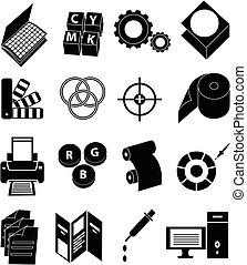 sajtó, nyomtatás, állhatatos, ikonok