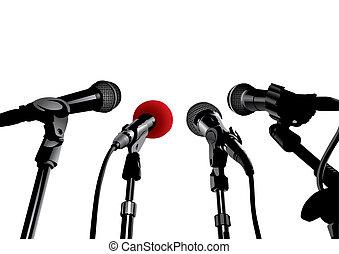 sajtótájékoztató, (vector)