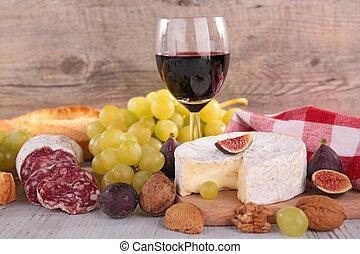sajt, bor, kolbász, piros, bread