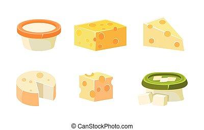 sajt, friss, ábra, vektor, termékek, gyűjtés, osztályozás, különféle, sajtos, írógépen ír