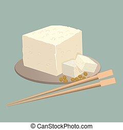 sajt, kínai, tányér, isolated., tofu, élelmiszer, kínai evőpálcikák, egészséges