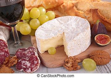 sajt, kolbász, bor, szőlő