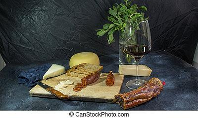 sajt, kolbász, parmezán, chorizo, bread, bor