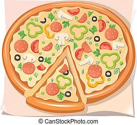 sajt, növényi, szalámi, pizza