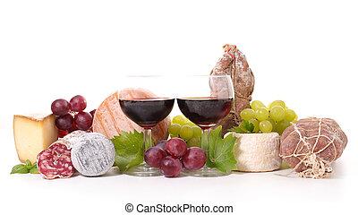 sajt, zenemű, kolbász, bor