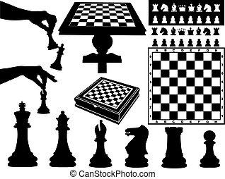 sakkjáték, ábra, darabok