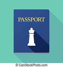 sakkjáték, alak, útlevél, hosszú, árnyék, király