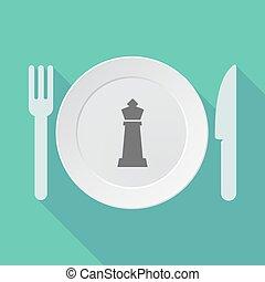 sakkjáték, alak, edények és evőeszközök, hosszú, árnyék, király