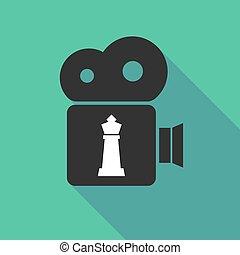 sakkjáték, alak, fényképezőgép, hosszú, árnyék, király
