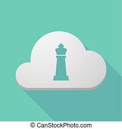 sakkjáték, alak, felhő, hosszú, árnyék, király