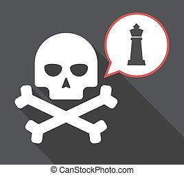 sakkjáték, alak, hosszú, árnyék, király, koponya