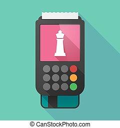 sakkjáték, dataphone, alak, hosszú, árnyék, király