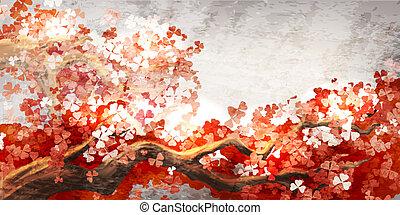 sakura, elágazik, virágzó