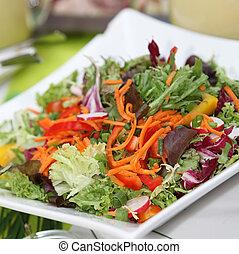 saláta, fejes saláta, sárgarépa, friss, felfordulás peppers, paradicsom