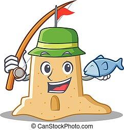 sandcastle, mód, betű, halászat, karikatúra