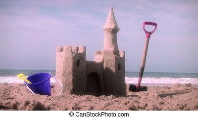 sandcastle, tengerpart, apró, nyár, (1001)