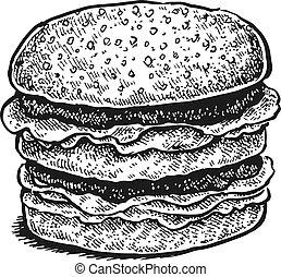 sandwich., kéz, sketchy, fekete, húzott, fehér