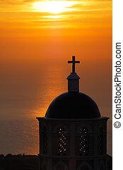 santorini, napkelte, templom