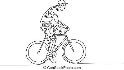 sapka, bicikli, folyamatos, egy, lovaglás, megtölt rajz, ember