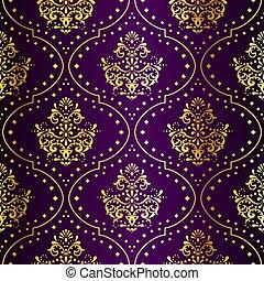 sari, arany, bíbor, motívum, seamless, bonyolult