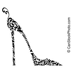 sarkú, damaszt, magas, retro, sikk, cipő