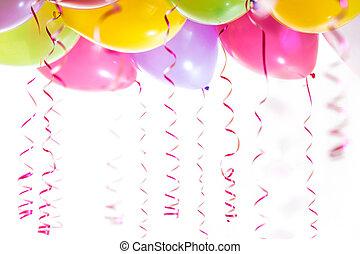 sarki fény, elszigetelt, születésnap, háttér, fél, fehér, léggömb, ünneplés