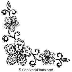 sarok, flowers., bla, befűz, díszítő