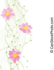 sarok, vektor, háttérfüggöny, zöld, virág, fehér