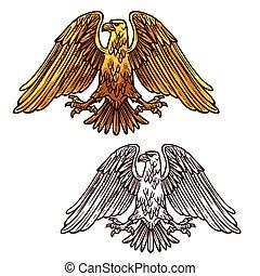 sas, állomány, erő, címertani, vektor, jelkép