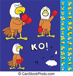 sas, bokszoló, karikatúra, set1