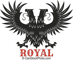 sas, fejléces, megkettőz, címertani, királyi, fekete, jelkép