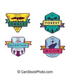 sas, hold, jelvény, erdő, hegy, állhatatos