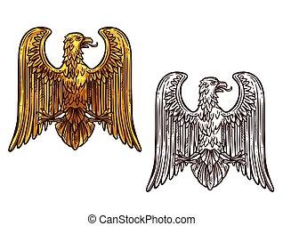 sas, skicc, arany, címertani, jelkép., madár
