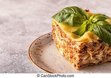 sauce., izomerő, bolognese, hagyományos, elkészített, lasagna, minced, szósz, besamel