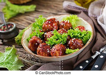 sauce., izomerő, kellemes, hús labda, táplálék., fanyar, ázsiai