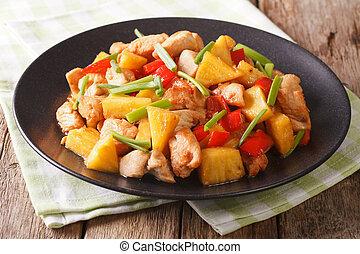 sauce., kellemes, növényi, ananász, fanyar, mell, sült csirke, horizontális