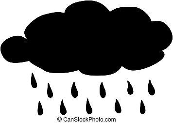 savanyúcukorka, illustration., eső, silhouette., víz, vektor, időjárás, icon., előre lát, felhő