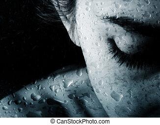savanyúcukorka, nő, eső