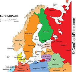 scandanavia, editable, országok, címek
